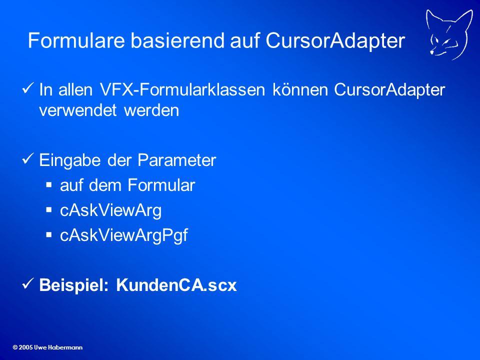 Formulare basierend auf CursorAdapter