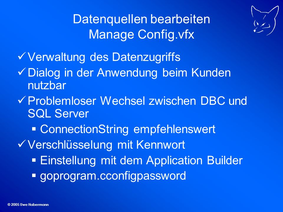 Datenquellen bearbeiten Manage Config.vfx