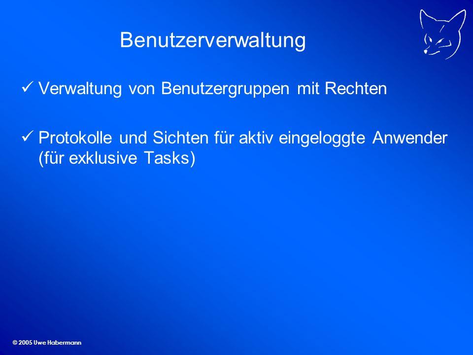 Benutzerverwaltung Verwaltung von Benutzergruppen mit Rechten