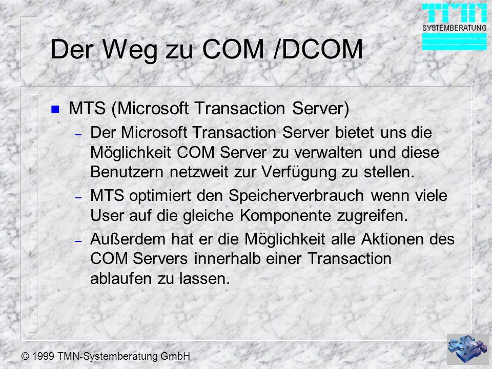 Der Weg zu COM /DCOM MTS (Microsoft Transaction Server)