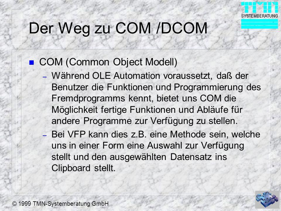Der Weg zu COM /DCOM COM (Common Object Modell)