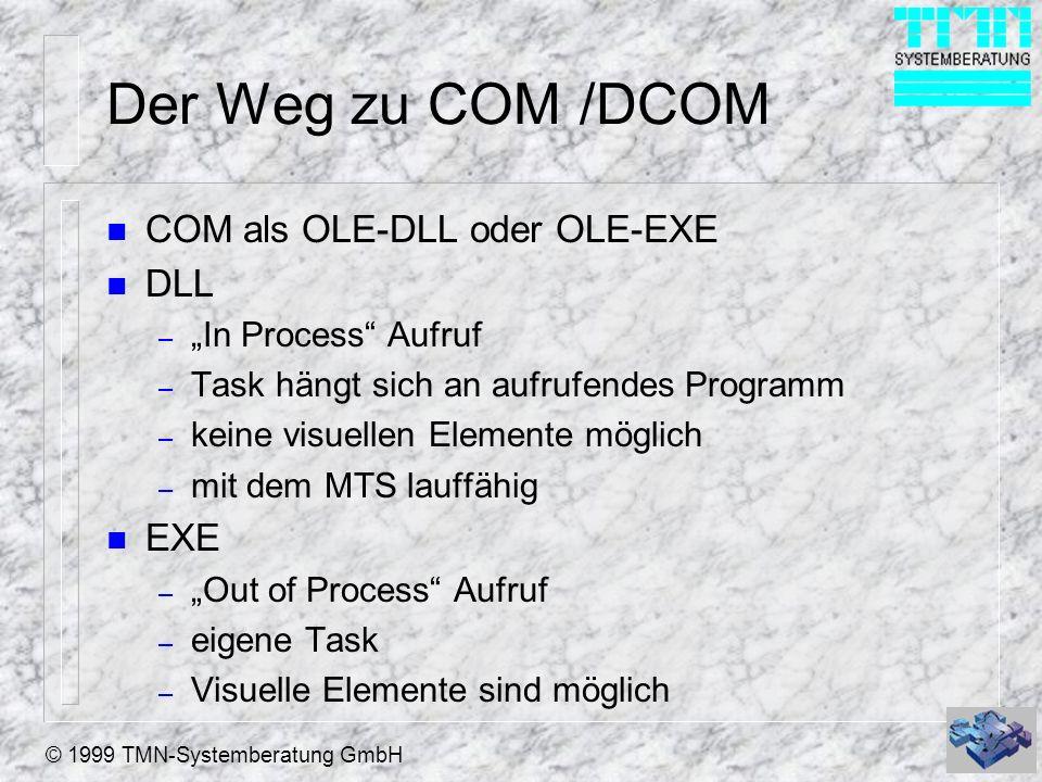Der Weg zu COM /DCOM COM als OLE-DLL oder OLE-EXE DLL EXE