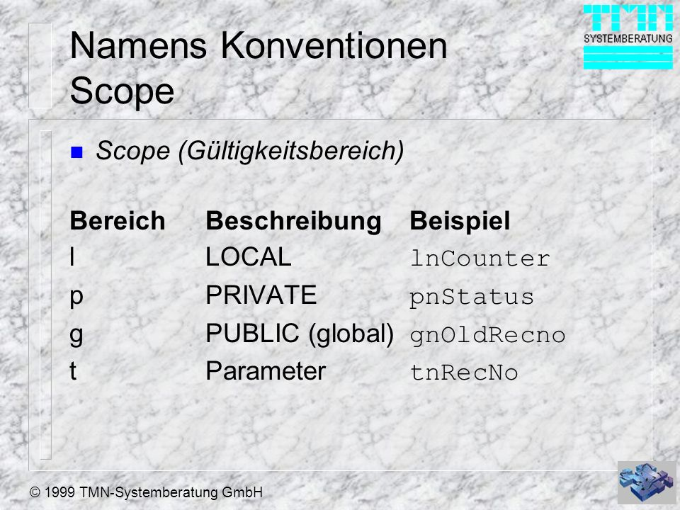 Namens Konventionen Scope