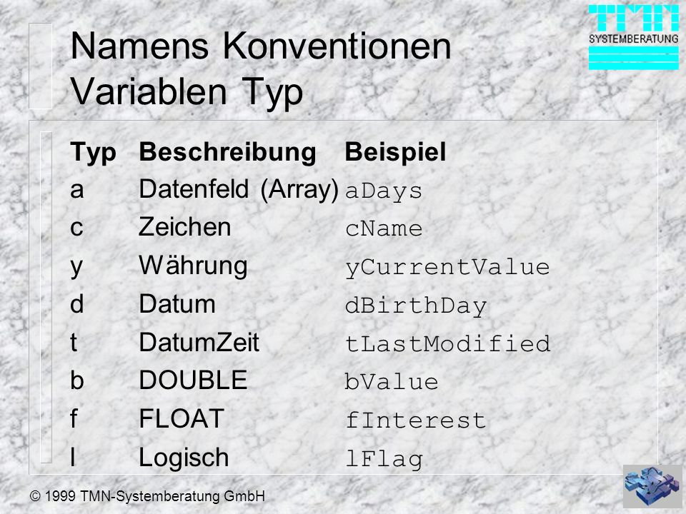 Namens Konventionen Variablen Typ
