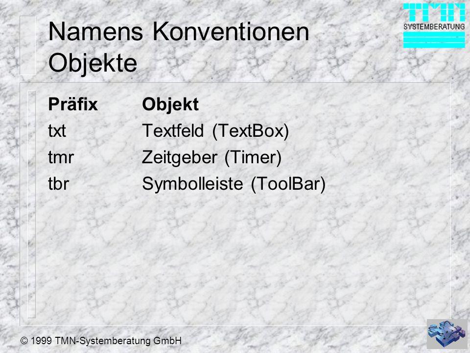 Namens Konventionen Objekte