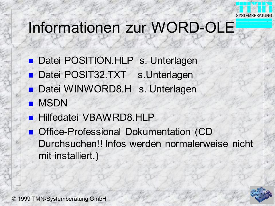 Informationen zur WORD-OLE