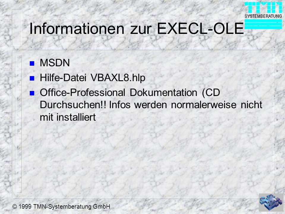 Informationen zur EXECL-OLE