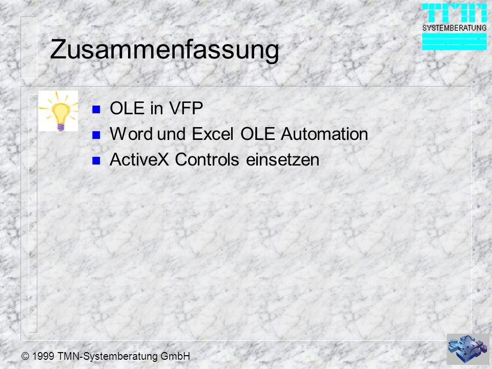 Zusammenfassung OLE in VFP Word und Excel OLE Automation