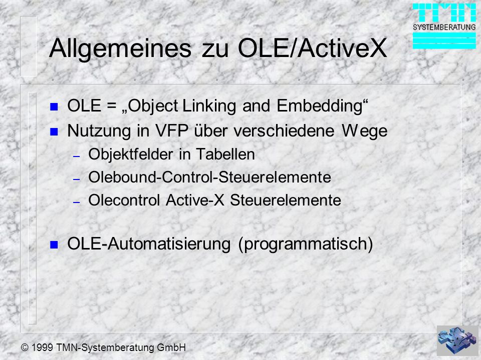 Allgemeines zu OLE/ActiveX