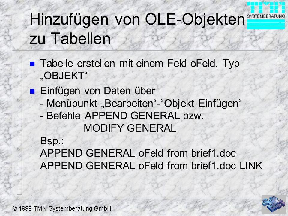 Hinzufügen von OLE-Objekten zu Tabellen