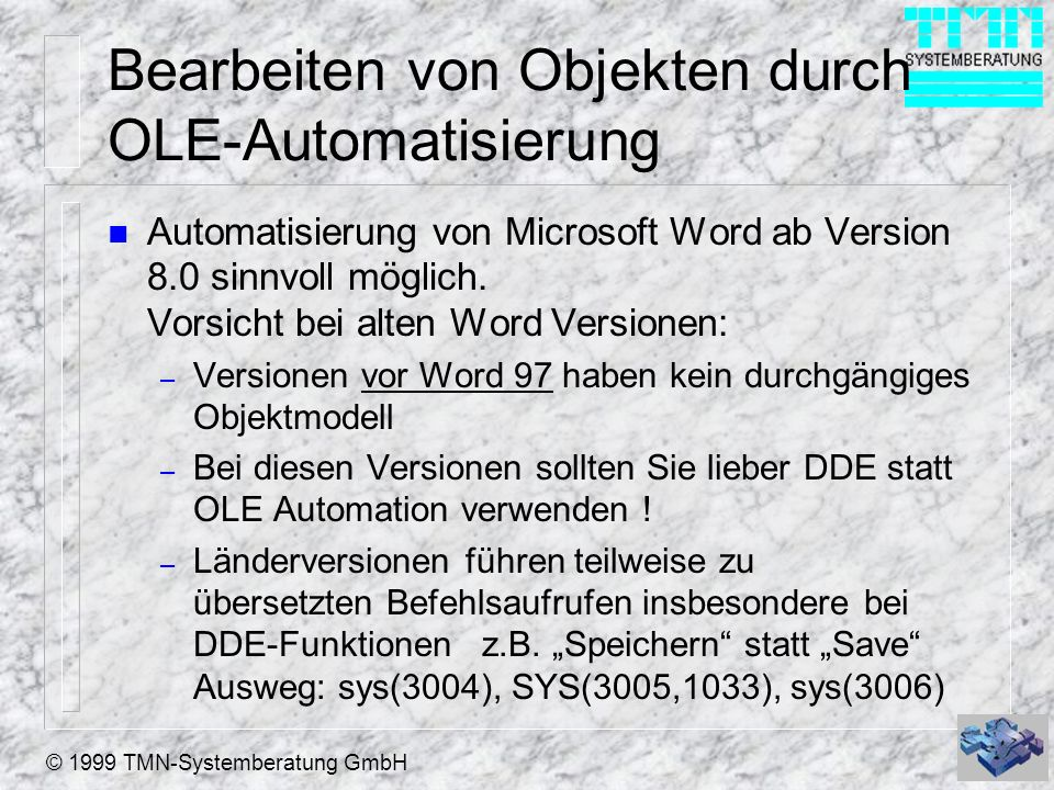 Bearbeiten von Objekten durch OLE-Automatisierung