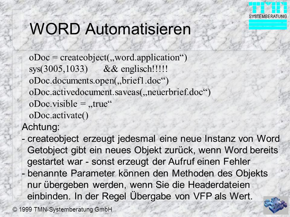 "WORD Automatisieren oDoc = createobject(""word.application )"