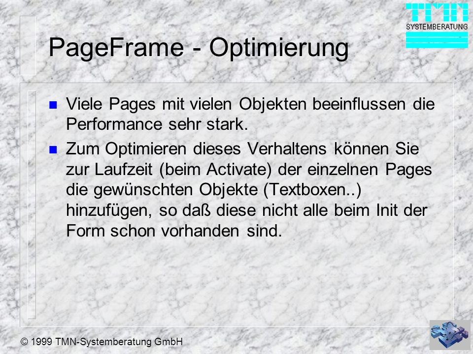 PageFrame - Optimierung