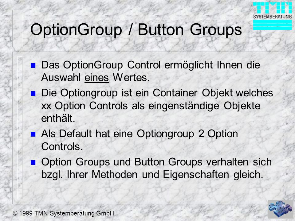 OptionGroup / Button Groups