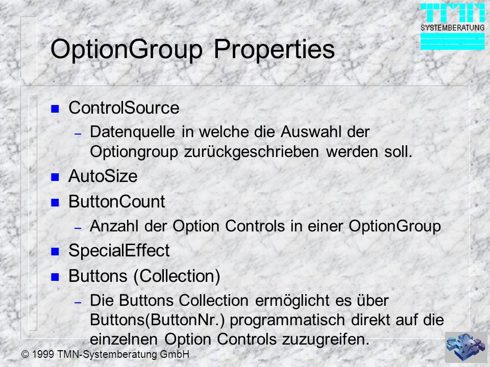OptionGroup Properties