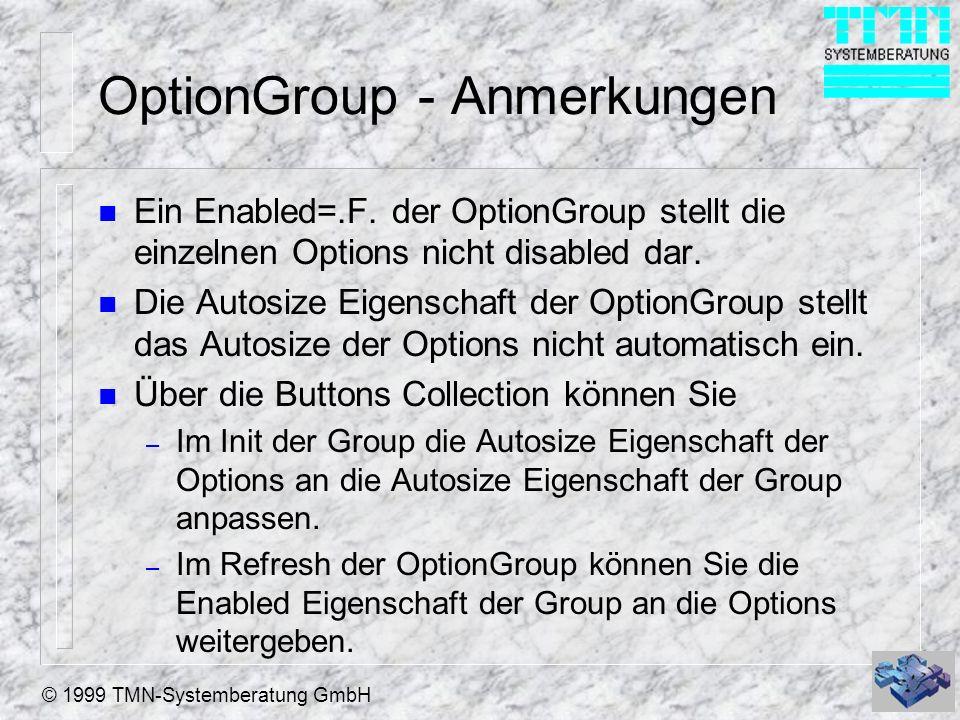 OptionGroup - Anmerkungen