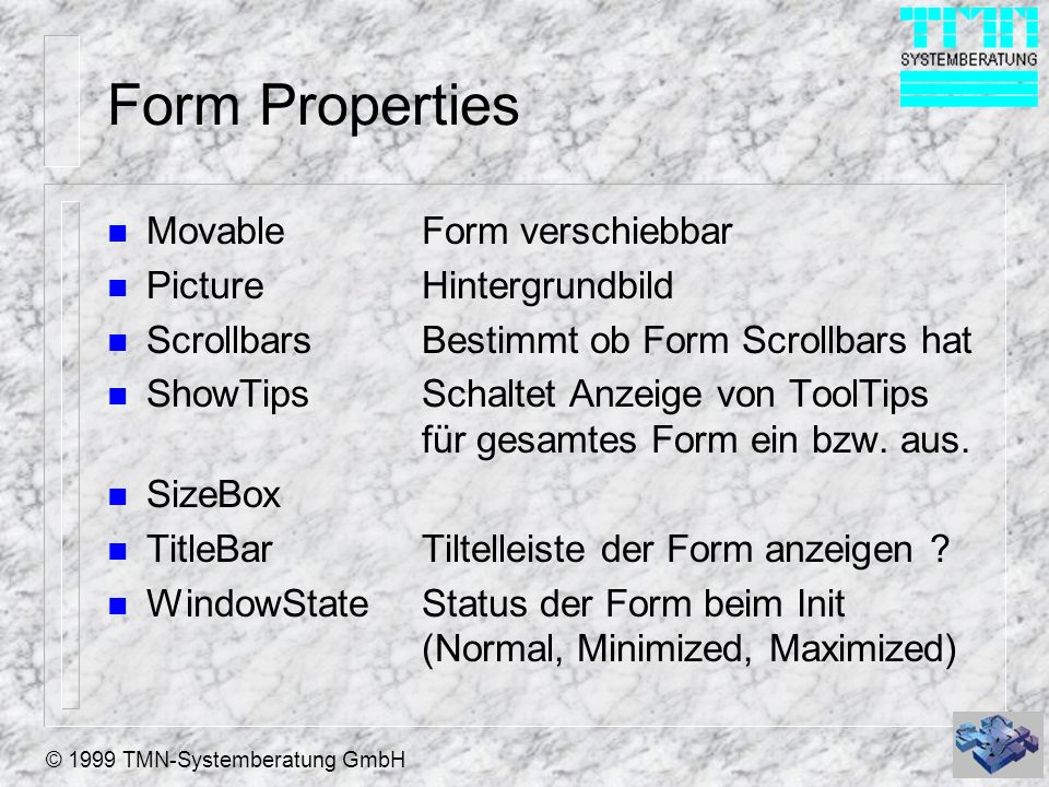 Form Properties Movable Form verschiebbar Picture Hintergrundbild