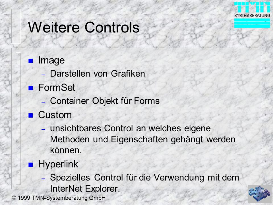 Weitere Controls Image FormSet Custom Hyperlink