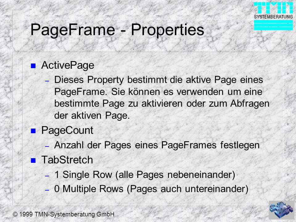 PageFrame - Properties