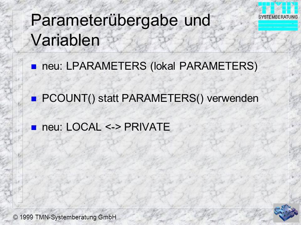 Parameterübergabe und Variablen