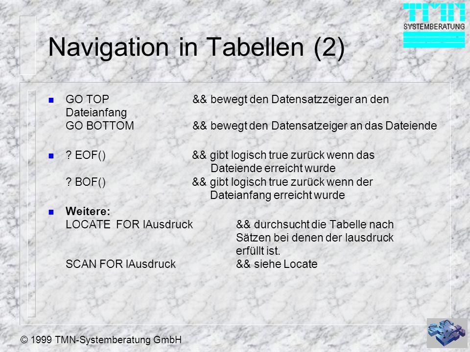 Navigation in Tabellen (2)