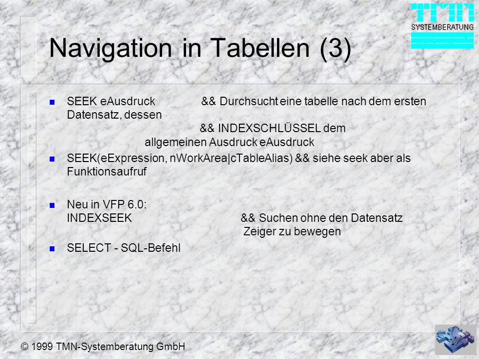 Navigation in Tabellen (3)