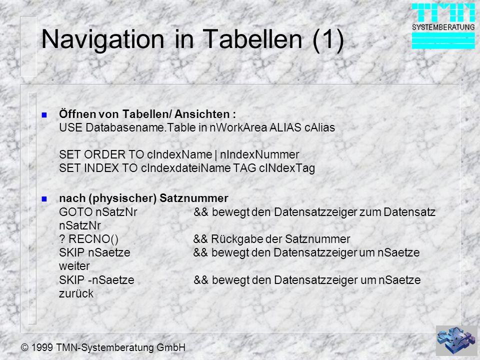 Navigation in Tabellen (1)