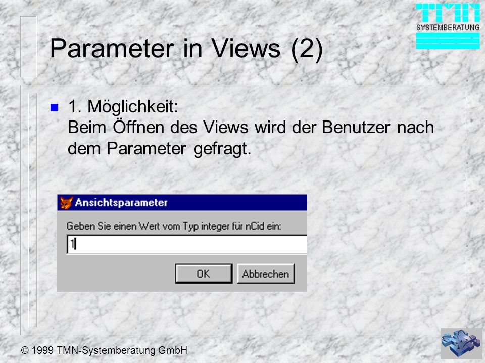Parameter in Views (2) 1.