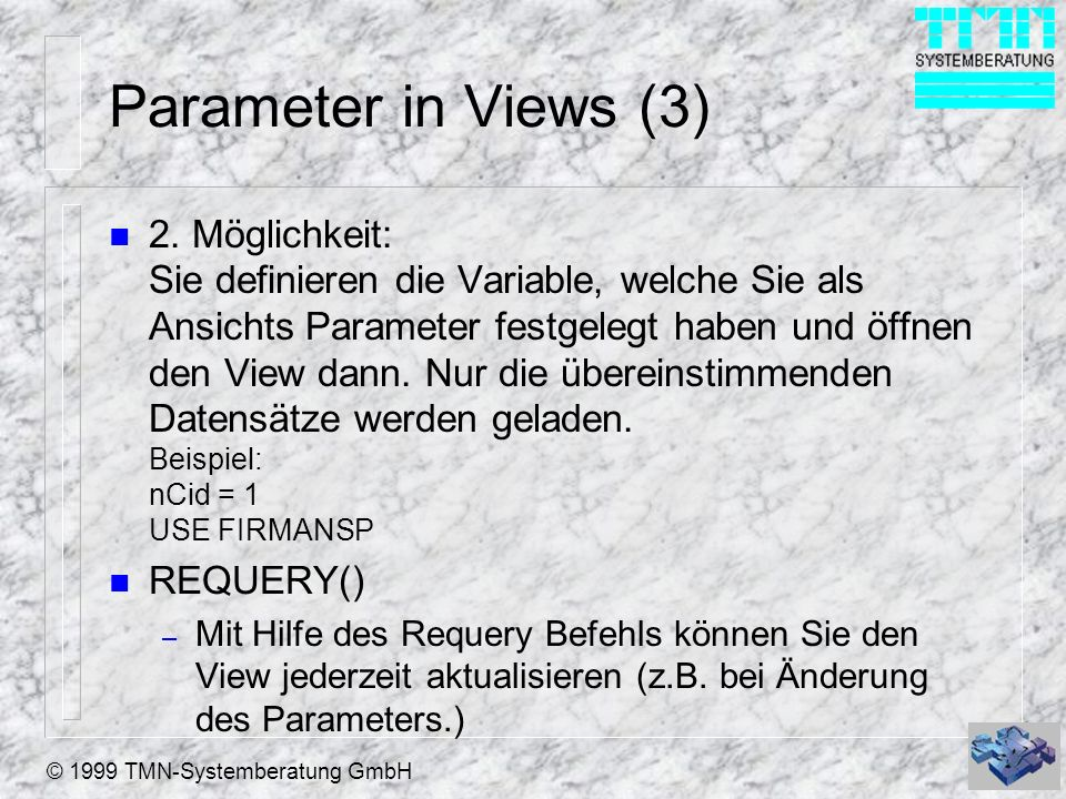 Parameter in Views (3)