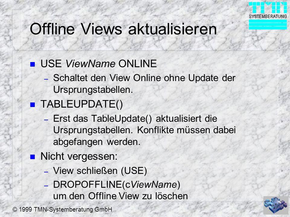 Offline Views aktualisieren