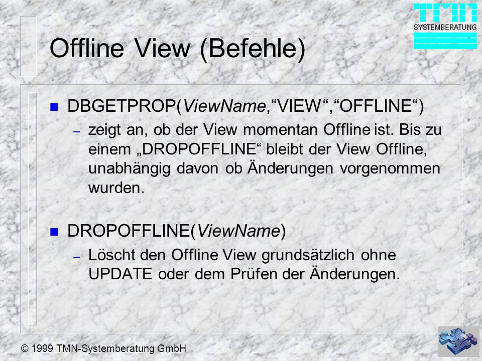 Offline View (Befehle)