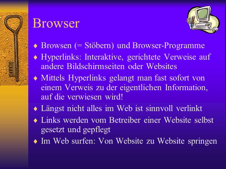 Browser Browsen (= Stöbern) und Browser-Programme