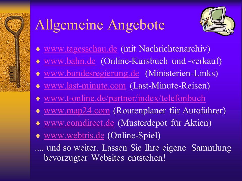 Allgemeine Angebote www.tagesschau.de (mit Nachrichtenarchiv)