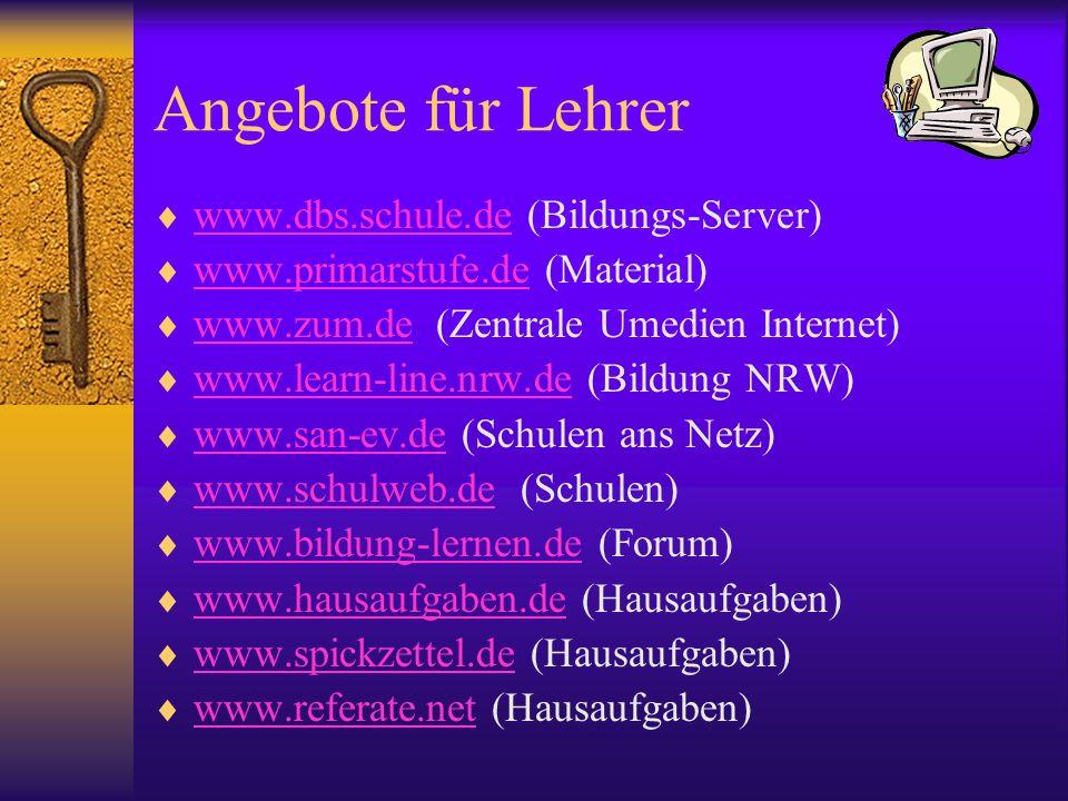 Angebote für Lehrer www.dbs.schule.de (Bildungs-Server)