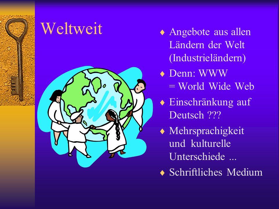 Weltweit Angebote aus allen Ländern der Welt (Industrieländern)
