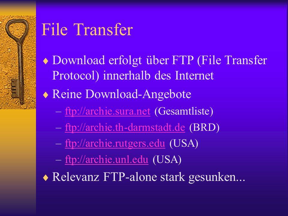 File Transfer Download erfolgt über FTP (File Transfer Protocol) innerhalb des Internet. Reine Download-Angebote.