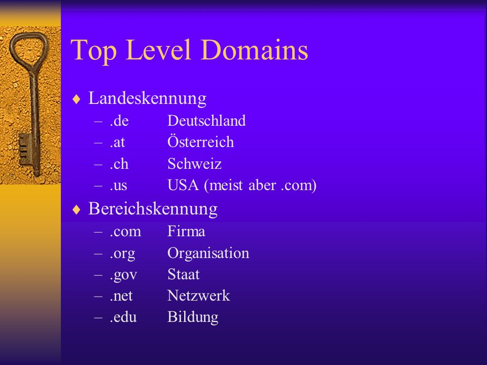 Top Level Domains Landeskennung Bereichskennung .de Deutschland
