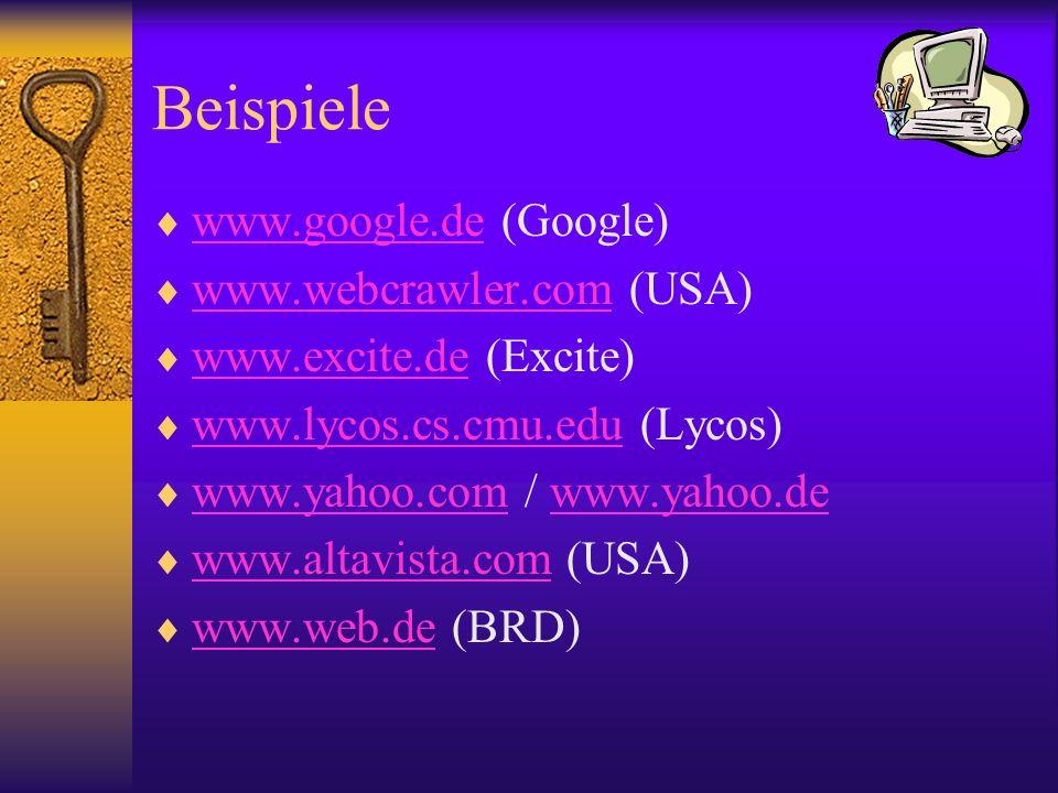 Beispiele www.google.de (Google) www.webcrawler.com (USA)