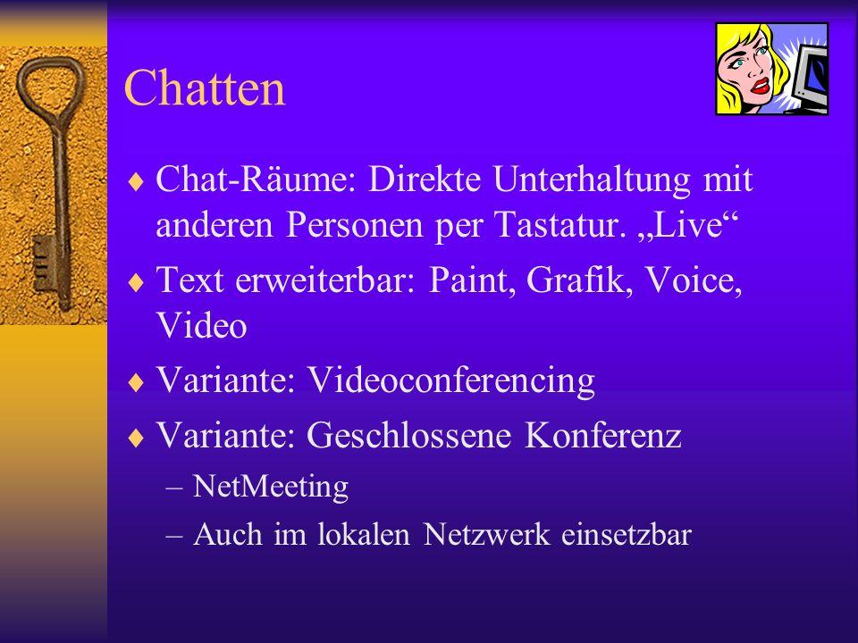 """Chatten Chat-Räume: Direkte Unterhaltung mit anderen Personen per Tastatur. """"Live Text erweiterbar: Paint, Grafik, Voice, Video."""