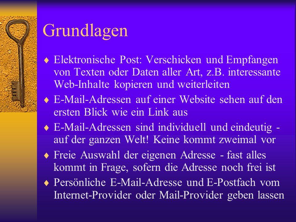 Grundlagen Elektronische Post: Verschicken und Empfangen von Texten oder Daten aller Art, z.B. interessante Web-Inhalte kopieren und weiterleiten.