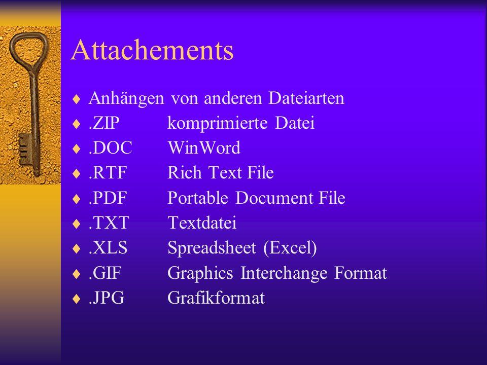 Attachements Anhängen von anderen Dateiarten .ZIP komprimierte Datei