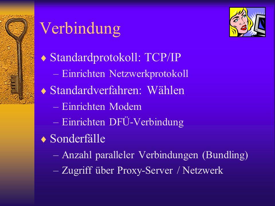 Verbindung Standardprotokoll: TCP/IP Standardverfahren: Wählen