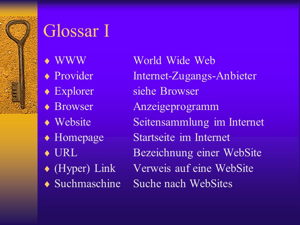 Glossar I WWW World Wide Web Provider Internet-Zugangs-Anbieter