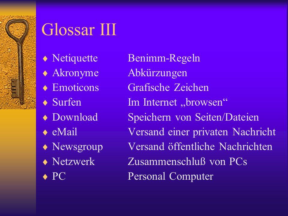 Glossar III Netiquette Benimm-Regeln Akronyme Abkürzungen