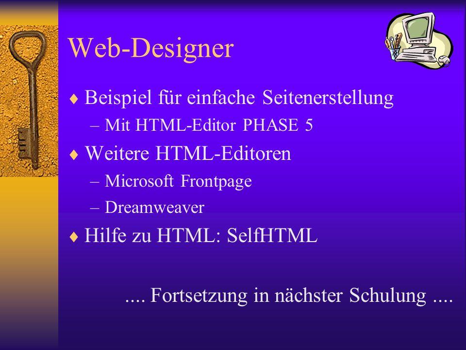 Web-Designer Beispiel für einfache Seitenerstellung