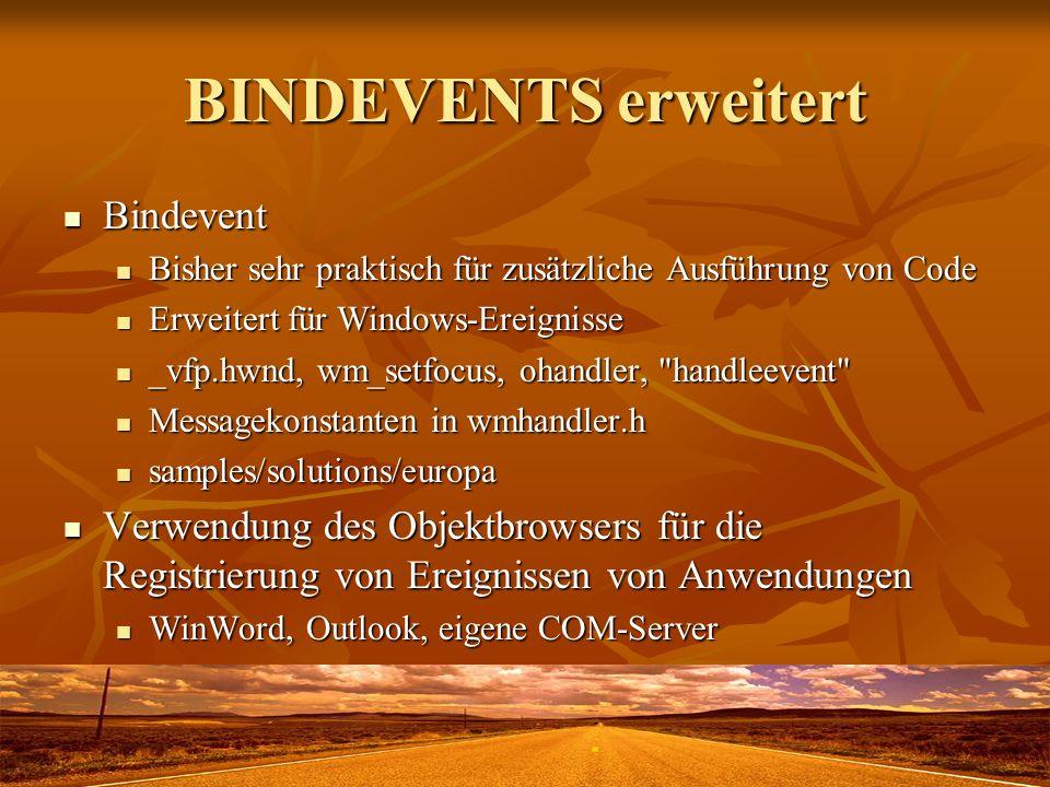 BINDEVENTS erweitert Bindevent