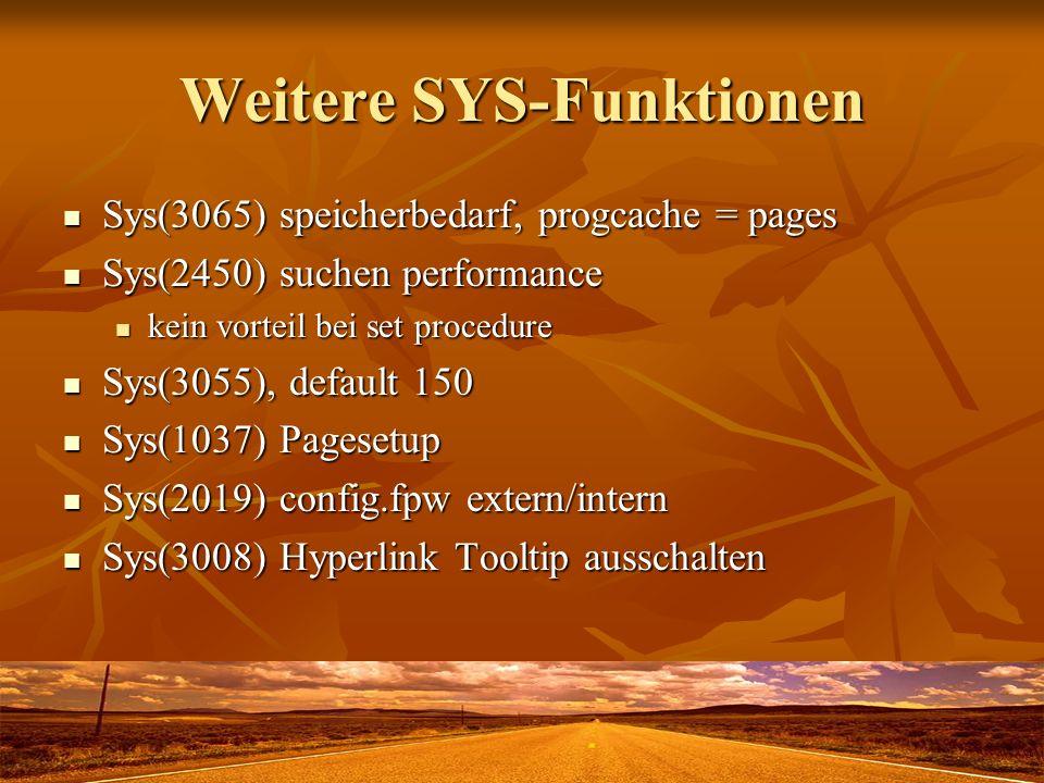 Weitere SYS-Funktionen