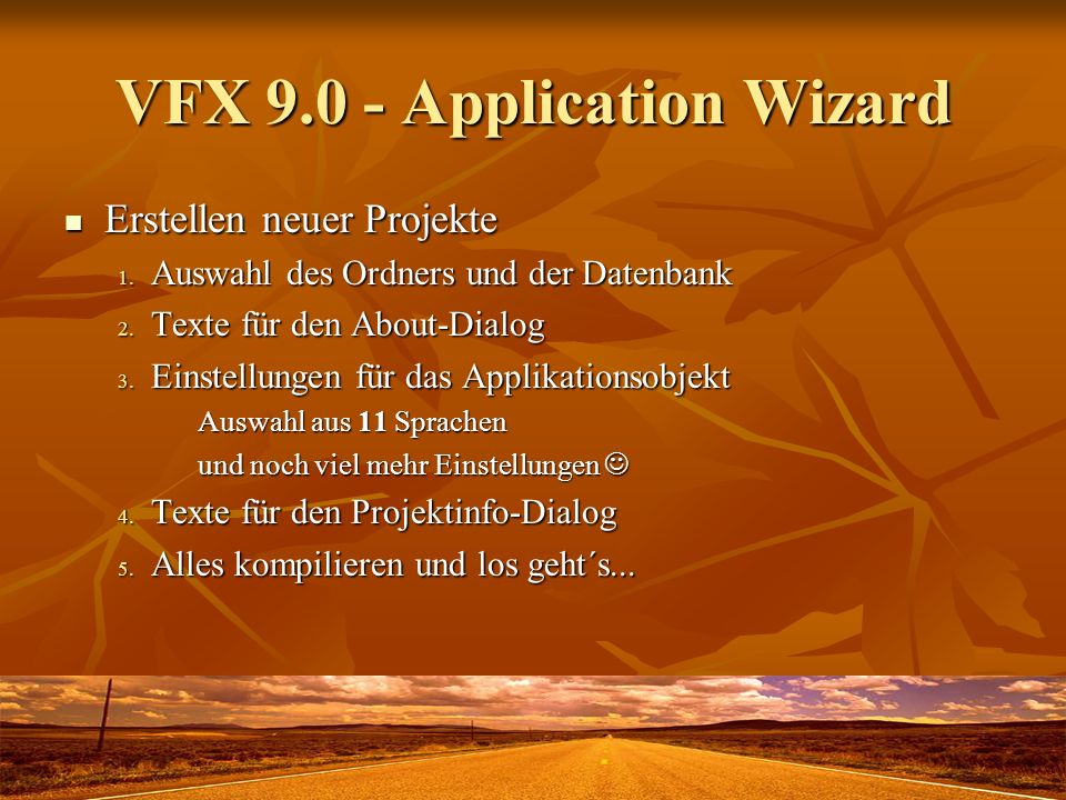 VFX 9.0 - Application Wizard