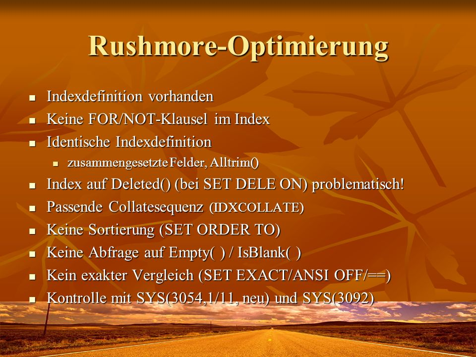 Rushmore-Optimierung