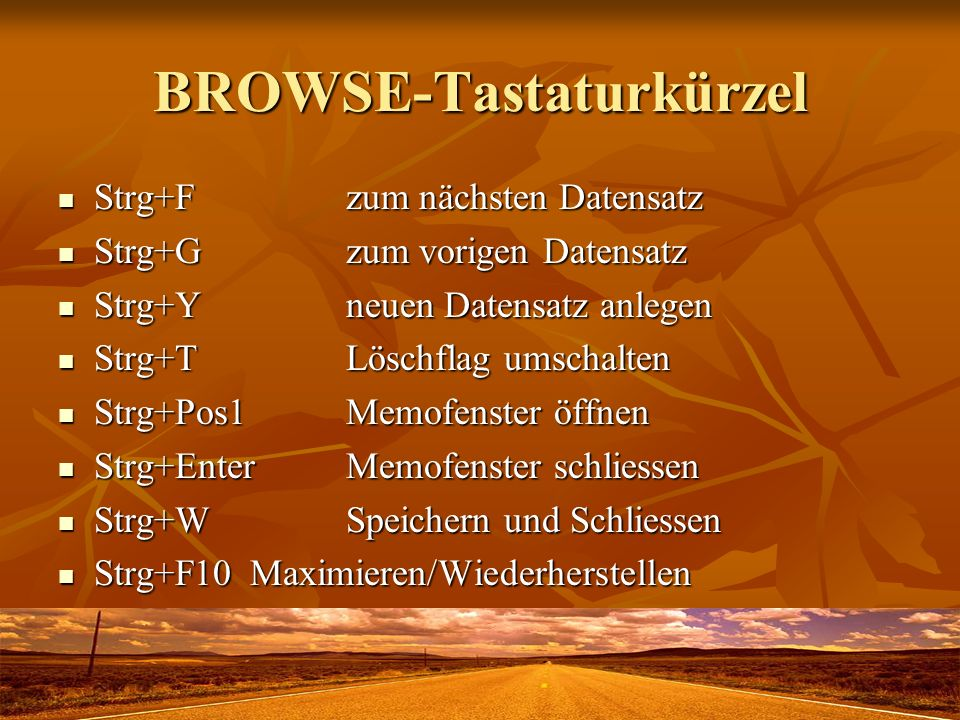 BROWSE-Tastaturkürzel
